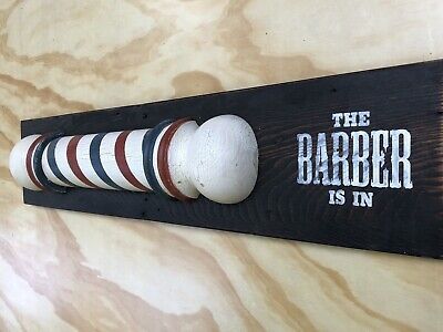 Barber Pole reproduction hand turned Americana folk art from antique  barn wood