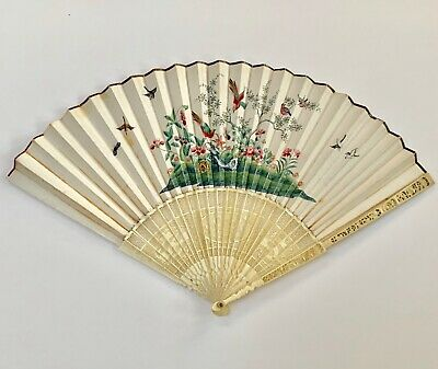 SUPERB Antique BRUSH PAINTING CHINESE Carved FAN n BOX late 1800s QING LOONSHING