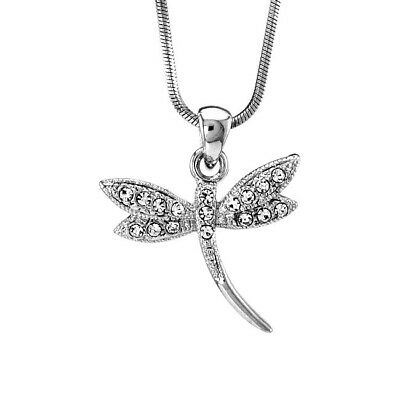 20a1193ba Dragonfly Pendant Made With Swarovski Crystal Clear Charm Necklace 20