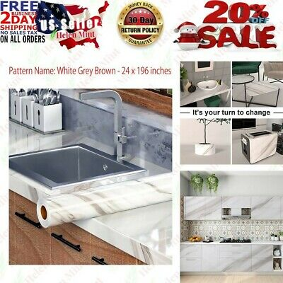 "Countertop Vinyl Self-Adhesive Shelf Film White Marble 16""x135"" Contact Paper"