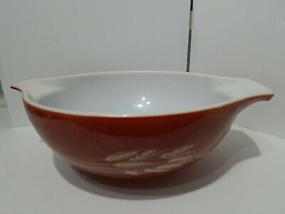 "Original-vintage (Glass) ""PYREX ~ 444 ~ 4-Qt. Mixing Bowl wheat red"