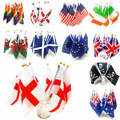 Handheld Country Flag Mini Desktop 20x14 Waving Party Small Stick England GB USA