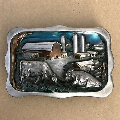 Vintage 1983 Bergamot Brass Works Farm Cows Belt Buckle #22