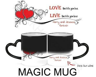 Personalised Heat Colour Changing Magic Mug With Names Heart Handle Wife Husband