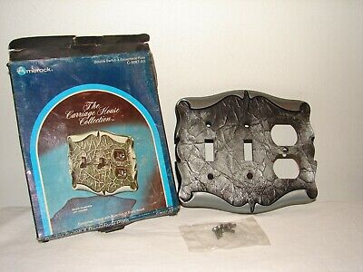 Vintage Amerock Carriage House Antique Silver Double Switch Receptacle Plate NOS