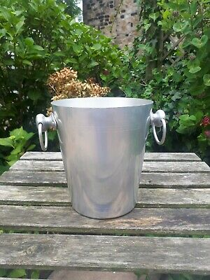 Vintage French Champagne Bucket Ice Drinks Cooler Silver Stainless Steel Wine