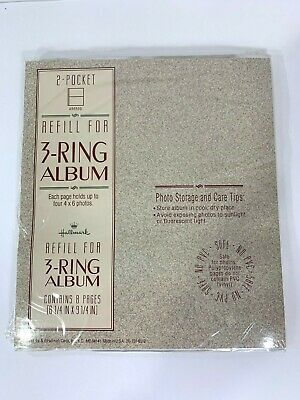 Hallmark 2-Pocket Refill Pages - 4x6 Photos - 8 Pages for 3-Ring Album 8.25x9.25