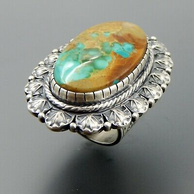 Handcrafted sterling silver oval large turquoise ornate stamped huge ring (9.25)
