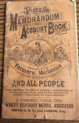 Vintage Pierce's Memorandum & Account Book World Dispensary Medical 1907/1908