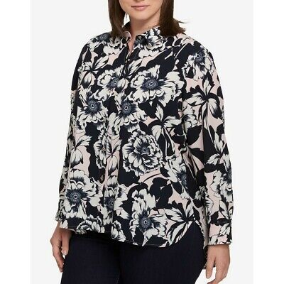 TOMMY HILFIGER NEW Women's Blue Printed Roll-tab Button Down Shirt Top TEDO