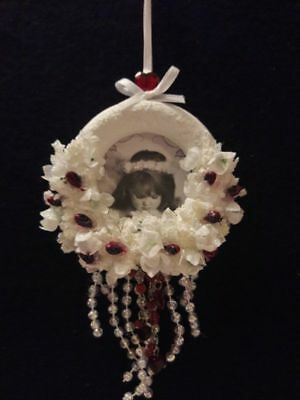 SALE! Shabby Angel Ornament~Frosty White~Ruby Red~Hearts~Victorian Decor