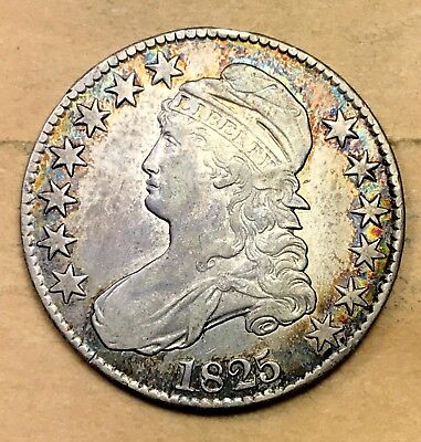 1825 Capped Bust Half XF/AU  Details *Great Color*