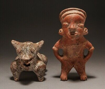 Two Pre-Columbian Colima Figures, A Standing Male Pihuamo Type & A Colima Dog