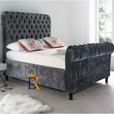 Chesterfield Tufted Sleigh Scroll Bed Frame Chenille Velvet Plush Double King