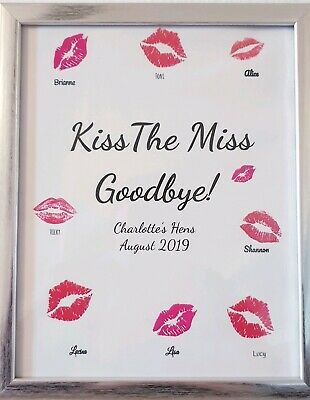 Kiss The Miss Goodbye, Personalised Hen Party Accessories Bride To Be Gifts, Hen
