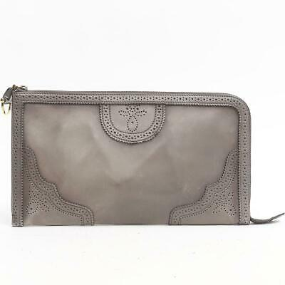 2bf5d28e9 Authentic GUCCI Duilio Brogue Zip Around Leather Clutch bag 296911 leather  Grey