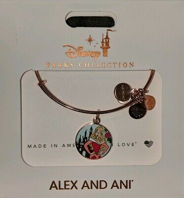 Disney Parks Alex and Ani Aurora Sleeping Beauty Charm Bracelet Rose Gold New