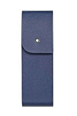 Montblanc Sartorial Blue Leather Hard Shell 2 Pen Pouch Case 115414 New, Box