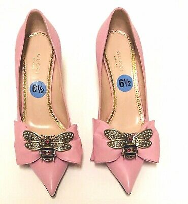 3262e2fee GUCCI Pink leather QUEEN MARGARET Pointed-Toe Pumps Shoes 6.5 37 ~Authentic  ~