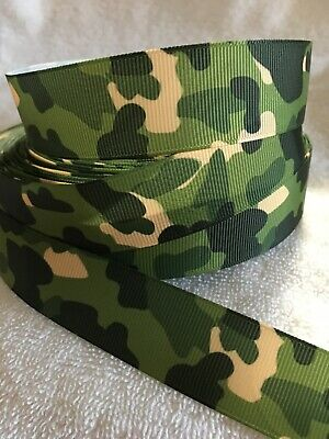Camo Green 25mm  Grosgrain Ribbon 3 Meter Length Hairbows Craft Scrapbooking