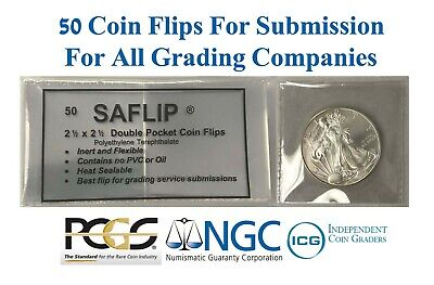 50 Coin Flips Saflip  For Grading Submission NGC PCGS ICG Mylar Archival Holders