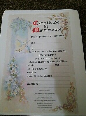 NEW Vintage Style VICTORIAN Wedding Certificate of Marriage Spanish