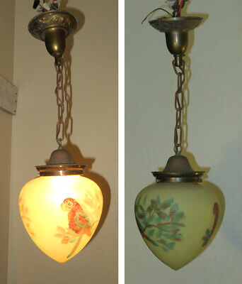 Antique Parrot Bird brass Art Deco lamp chandelier Vintage Glass shade w canopy