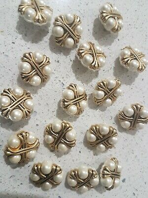 Lot of 16x Brand New 25mm Gold and Pearl Shank Vintage sewing buttons