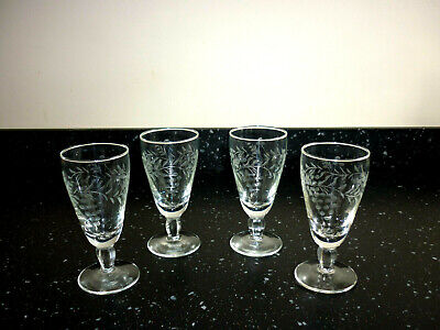 Four Etched Wine Glasses  With Faceted Stems