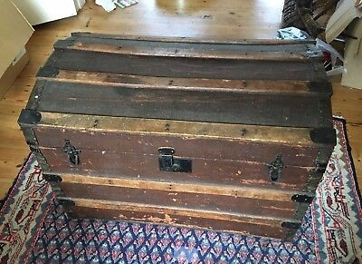 Pine and Fabric Dome-Top 'Treasure' Chest Trunk Blanket Box Medium Large Size