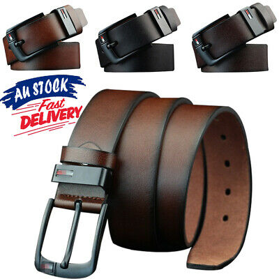Mens Belt Work Pin 3 Colors Buckle Belts PU Leather Dress AU Business Waistband
