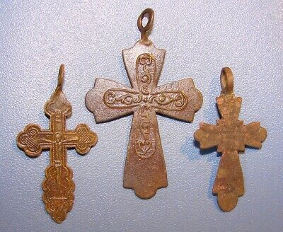 Ancient Crosses. Orthodox. Copper. Original.