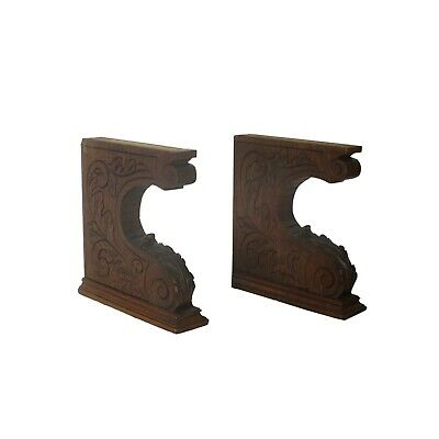 Pair  French Corbels Hand Carved Wood Pediment  Ornate Finial Architectural
