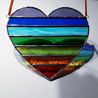 Stained Glass Suncatcher Chakra Heart (Handmade) Brand New Tiffany Style