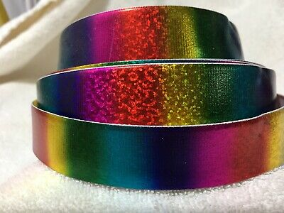 Rainbow Sparkle 25mm Grosgrain Ribbon 3 Meter Length Hairbows Craft Scrapbook