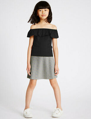 BNWT M&S Girls Silver Pleat Skirt +Off Shoulder Top Outfit Age 8-9
