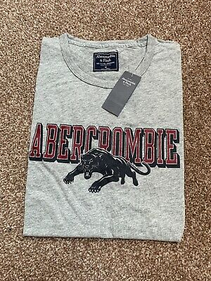 ce66042333db NEW Abercrombie & Fitch Print Logo Graphic Tee Grey T-Shirt S.