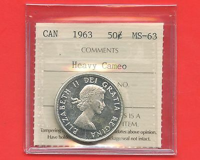 1963 Canada Silver 50 Cents Graded ICCS MS63 Certification # PV 497 Heavy Cameo