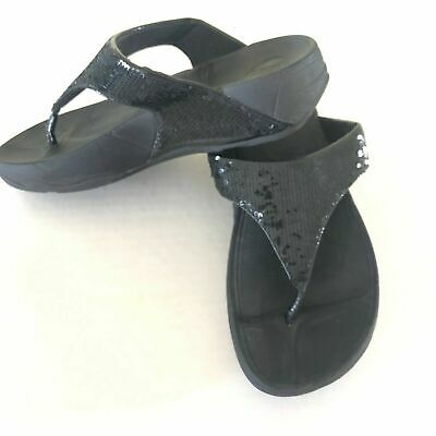 dc57071361 FitFlop Womens Sandals Electra Black Sequin Thong Slides Walking Casual Size  7