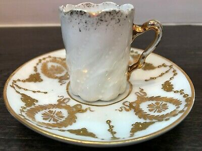 Antique Dresden porcelain demitasse coffee cup/saucer, c19th, white/gold, as-is