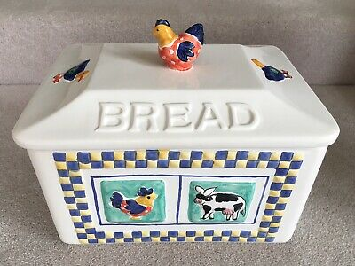 Vintage Ceramic Kitchen Rayware Country 3d Farm Animals Bread Bin VGC
