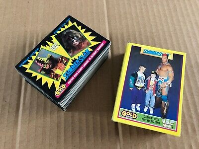 Huge Lot of Vintage Black & Yellow Gold Series WWF Trading Cards Wrestling 92 93