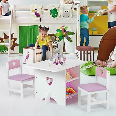 Kids Children's Nursery Play Table & 2 Chairs Set with 4 Storage Boxes Heart