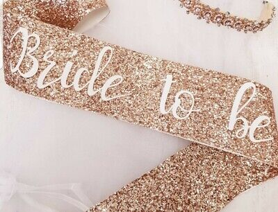 Bride to be Hen Party Sash - Bridal Shower - Bride To Be -  Rose Gold Glitter