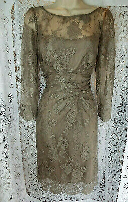 SPOTLIGHT by WAREHOUSE Edwardian Style Light Taupe Lace Dress Lined  SIZE 12