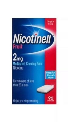 2 Pack Of Nicotinell Fruit Medicated Chewing Gum 2mg x 96