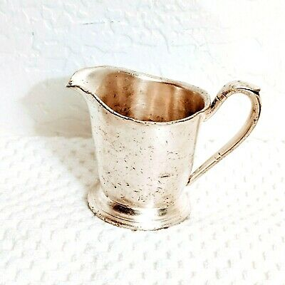 Antique Vtg Silver Soldered Plate Creamer Pitcher Victor S Co 4 oz EP-NS RO124