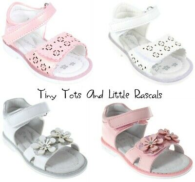 Toddler Girls Kids Summer Sandals Beach Occasion Shoes Leather Insole Size 3 - 8