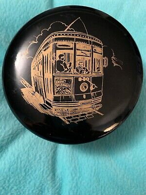 D.H. Holmes Co.,Ltd.1983 Black Celluloid Coaster Set/New Orleans Streetcar Japan