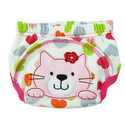 3X(Layer learning panties of washable cotton waterproof cat pattern for baby V1